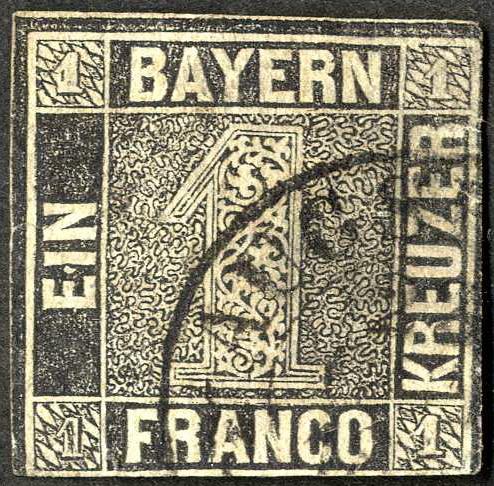 Briefmarke Bayern Einser 1 Kreuzer 1849 Michel Nr 1iia