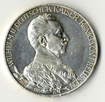 3 Mark 1913 A Wilhelm II Kaiser - Avers