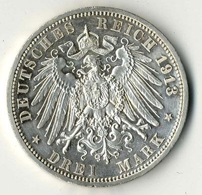 3 Mark 1913 A Wilhelm II Kaiser - Revers