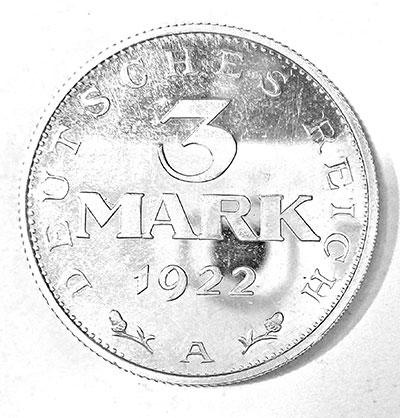 3 Mark 1922 Spiegelglanzprägung - Revers