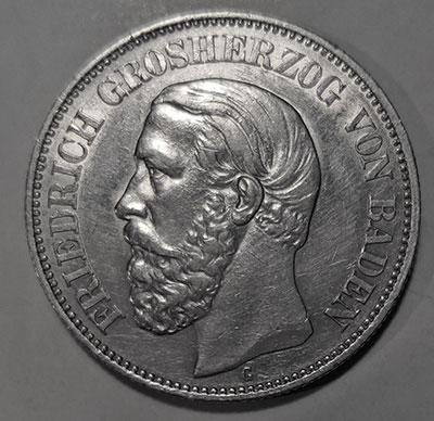 Deutsches Kaiserreich Großherzogtum Baden: 2 Mark 1880 - Avers