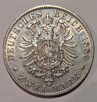 Deutsches Kaiserreich Großherzogtum Baden:<br/> 2 Mark 1880 - Revers