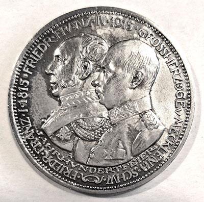 Deutsches Kaiserreich | Großherzogtum Mecklenburg Schwerin | 3 Mark Jahrhundertfeier 1915
