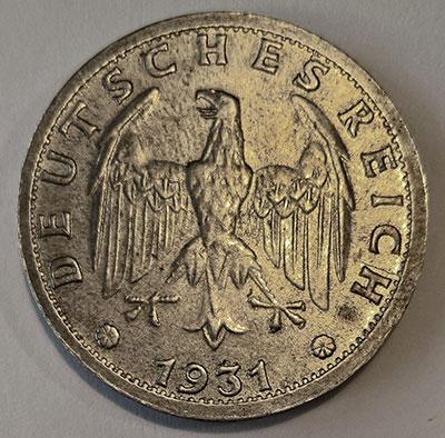 Weimarer Republik 3 Mark 1931 Avers