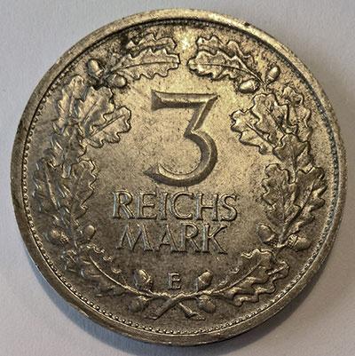 Weimarer Republik 3 Mark 1931 Revers