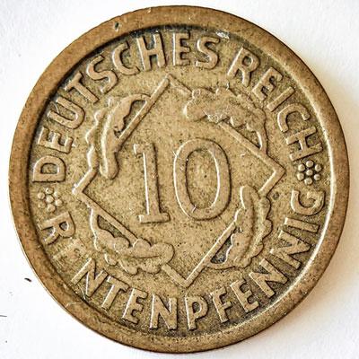 10 Rentenpfennig 1924 - Revers