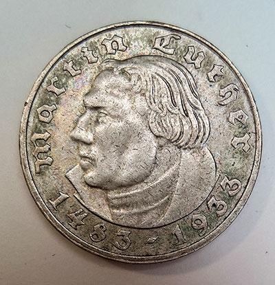 2 Reichsmark 1933 - 450. Geburtstag von Martin Luther - Avers