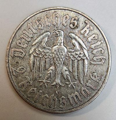 """2 Reichsmark 1933 - """"450. Geburtstag von Martin Luther"""" - Revers"""