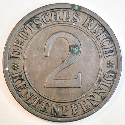 2 Rentenpfennig 1924 - Revers