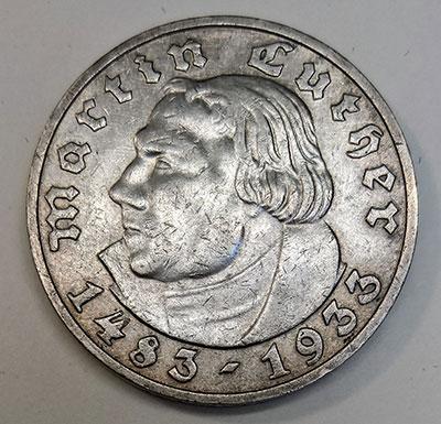 """5 Reichsmark 1933 - """"450. Geburtstag von Martin Luther"""" - Avers"""