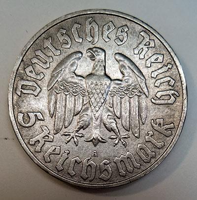 """5 Reichsmark 1933 - """"450. Geburtstag von Martin Luther"""" - Revers"""