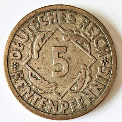 5 Rentenpfennig 1923 - Revers