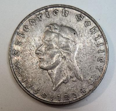 2 Reichsmark 1934 - Schiller - Avers