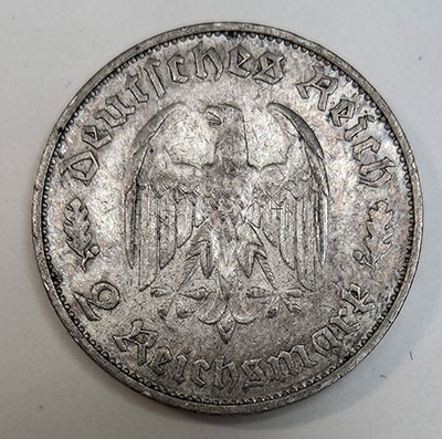 2 Reichsmark 1934 - Schiller - Revers