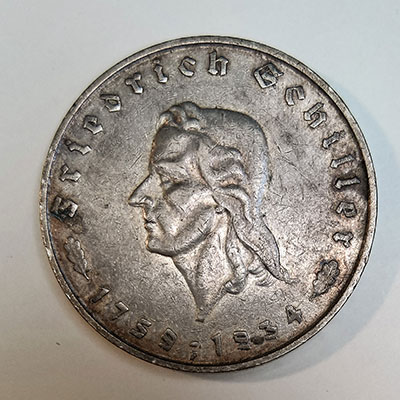 5 Reichsmark 1934 -Schiller - Avers