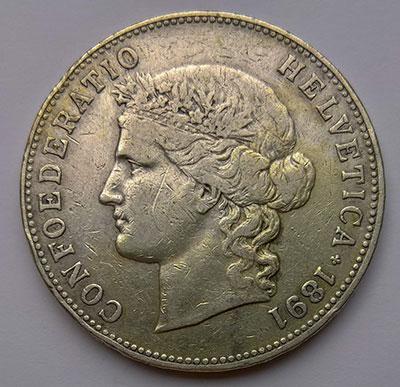 5 Franken 1891 Avers