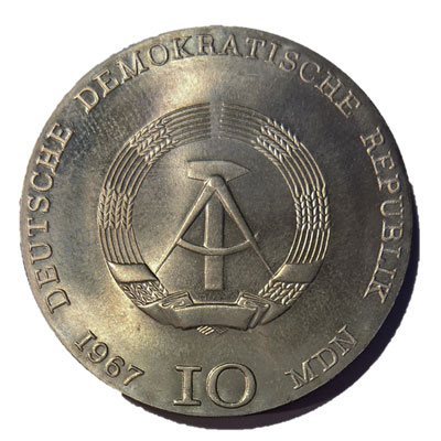 DDR-10-Mark-1967-Revers