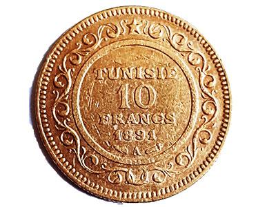 Französisches Protektorat Tunesien-10-Francs-Revers